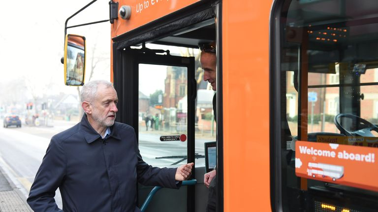 Jeremy Corbyn talking to a bus driver in Nottingham