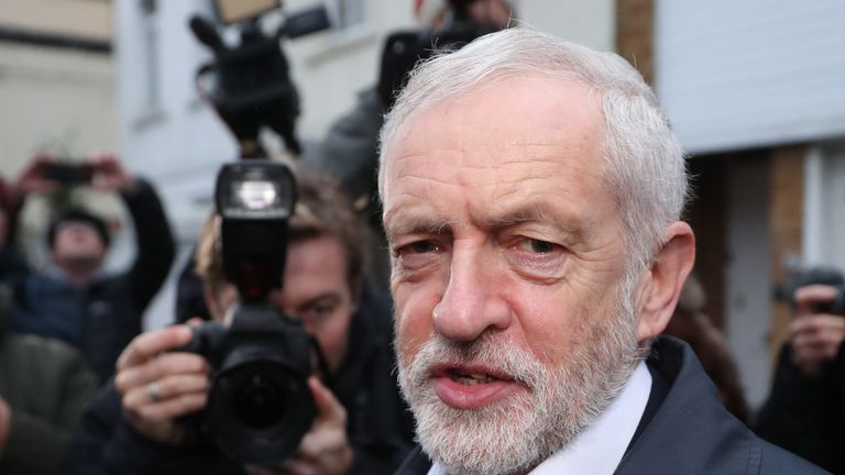 Opposition Labour party leader Jeremy Corbyn leaves his house in north London on January 16, 2019
