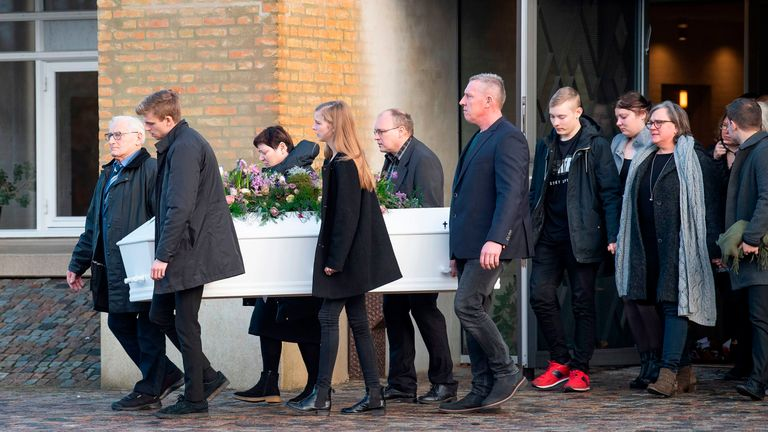 Family and friends follow the coffin during the funeral of Danish student Louisa Vesterager Jespersen at Fonnesbaek Church in Ikast, Denmark on January 12, 2019