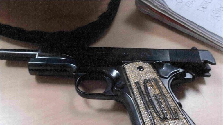 This diamond encrusted pistol allegedly belongs to El Chapo