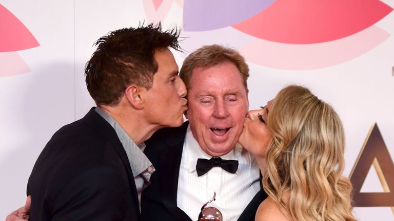 John Barrowman, Harry Redknapp and Emily Atack with The Bruce Forsyth Entertainment Award