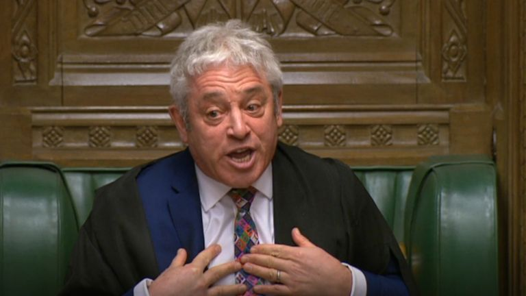 House of Commons Speaker John Bercow in the House of Commons, London.