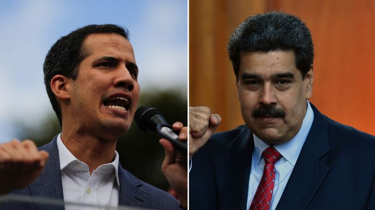 Opposition leader Juan Guaido (L) and Venezuelan President Nicolas Maduro