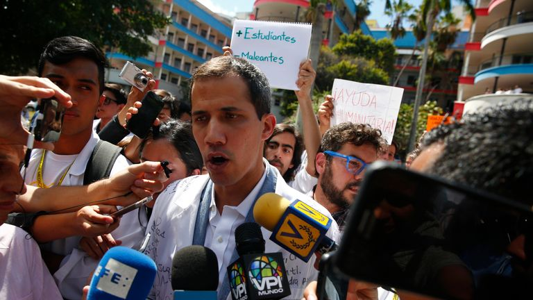 Venezuelan opposition leader and self-proclaimed interim president Juan Guaido