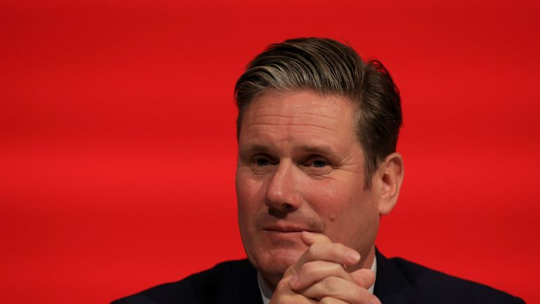 Shadow Brexit Secretary Sir Keir Starmer at the Fabian Society on Saturday