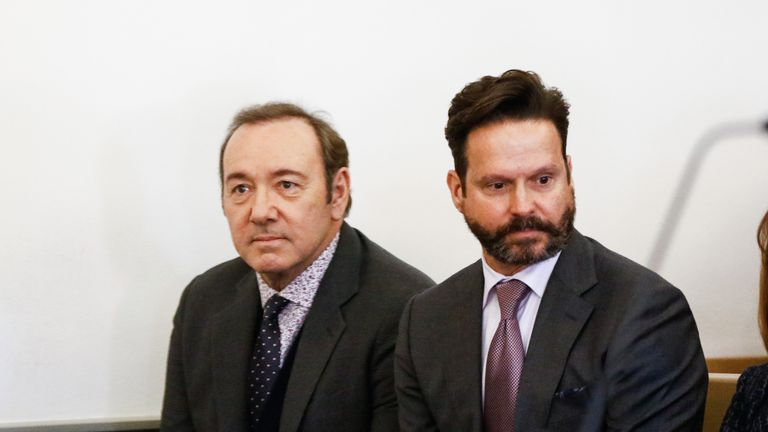 Spacey sat next to his lawyer, Alan Jackson