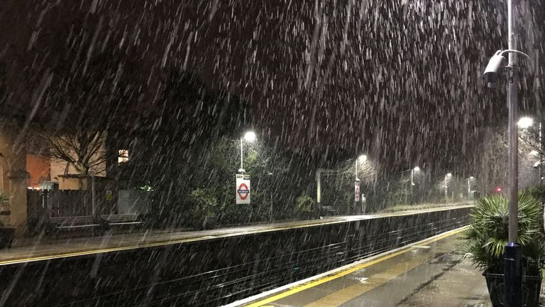 Wintry conditions at Kew Gardens station in west London