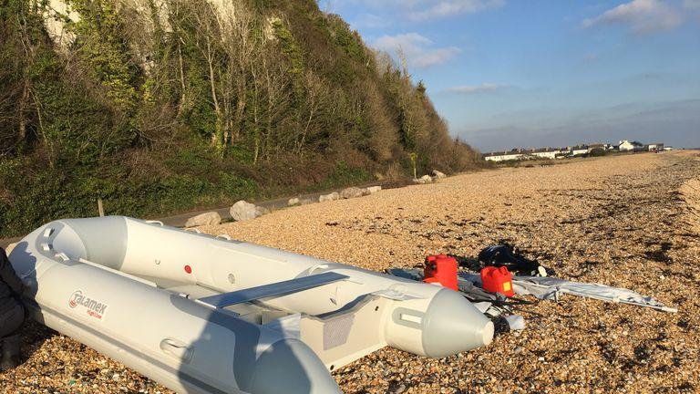 Life-jackets were dumped alongside a dinghy on a beach in Kingsdown