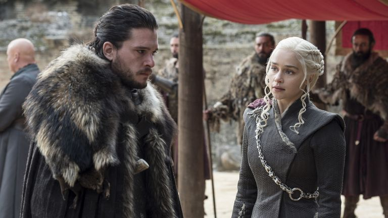 Kit Harington as Jon Snow and Emilia Clarke as Daenerys Targaryen in Game Of Thrones. Pic: Sky Atlantic/ HBO