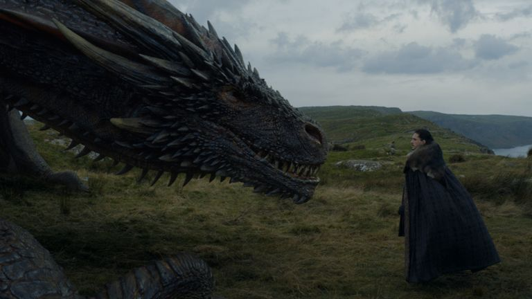 Kit Harington as Jon Snow and Drogon. Pic: Sky Atlantic/HBO