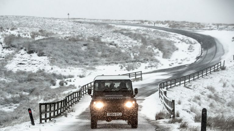 Snow hit Tan Hill in North Yorkshire