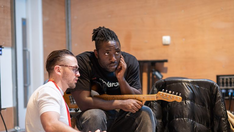 Bloc Party's Kele Okereke (right) in rehearsals for Leave To Remain musical
