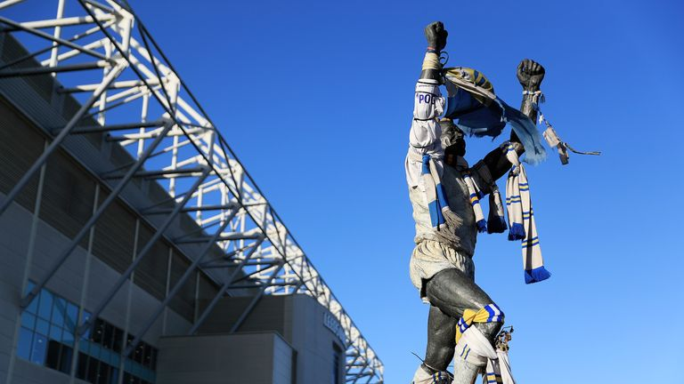A general view of the 'Billy Bremner' Statue at Leeds Elland Road stadium