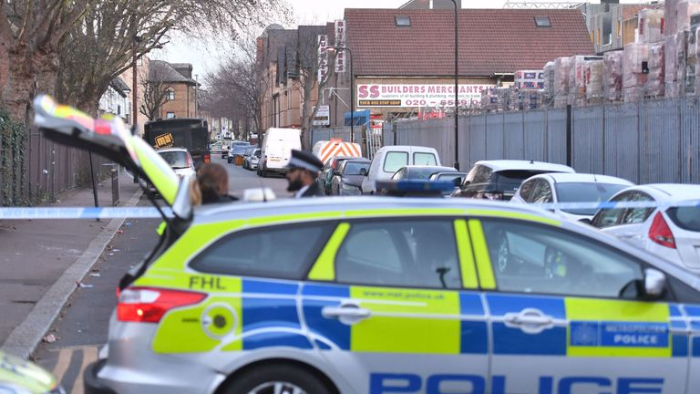 The scene in Leyton, Waltham Forest in north-east London where a 14-year-old boy died after he was found with stab injuries