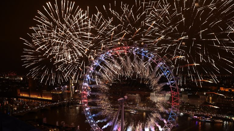 Fireworks over The London Eye welcome 2019