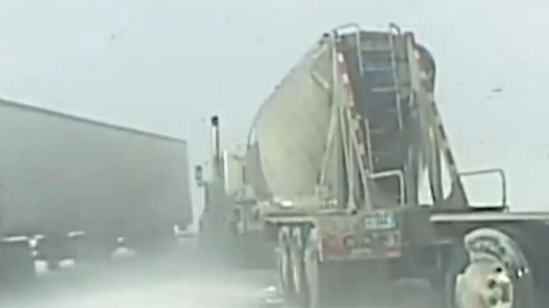 Lorry collides with cop car on icy Wyoming road