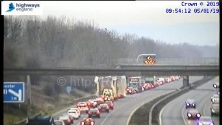 Tailbacks on the southbound M5 approaching the crash scene. Pic: Highways England