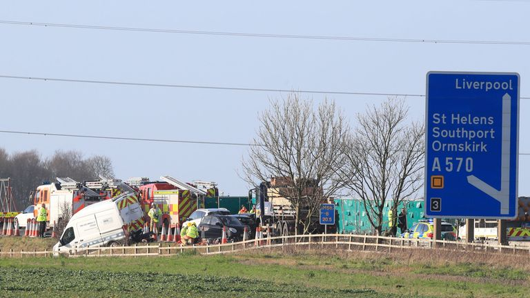 The crash involved an HGV, a minibus and a number of other vehicles