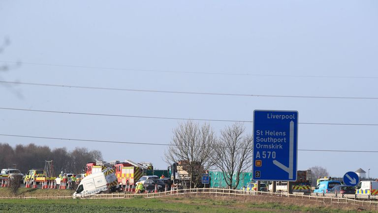 The scene of a multi vehicle crash on the M58 between J4 Skelmersdale and J3 Bickerstaffe in Lancashire