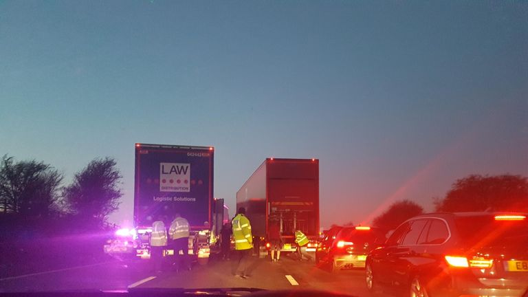 Police have been seen searching lorries as traffic builds on the M6. Pic: Gareth Condliffe