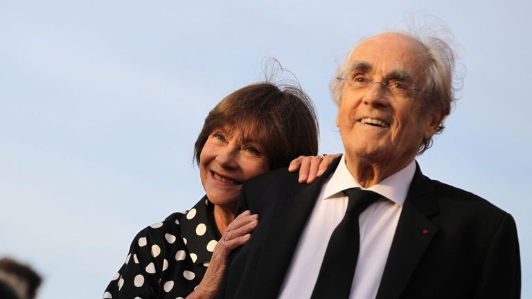Michel Legrand seen with his wife, French actress Macha Meril in 2017