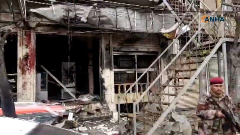 The scene of the blast in Manbij, Syria