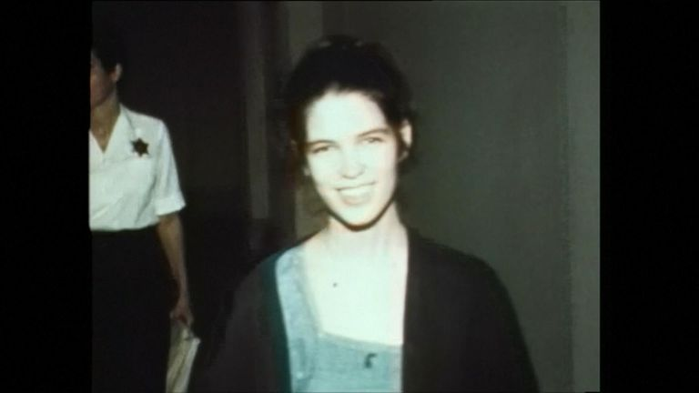 Leslie Van Houten at court following her arrest in 1969
