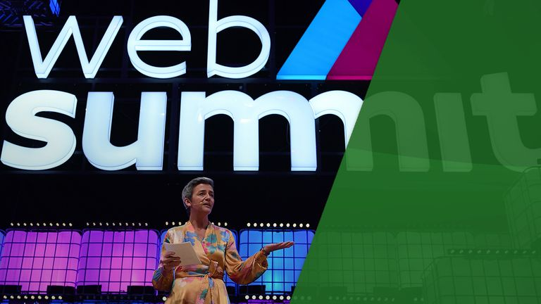 Danish European Comissioner for Competitions Margrethe Vestager delivers a speech on the centre stage of the 2018 edition of the annual Web Summit technology conference in Lisbon on November 7, 2018