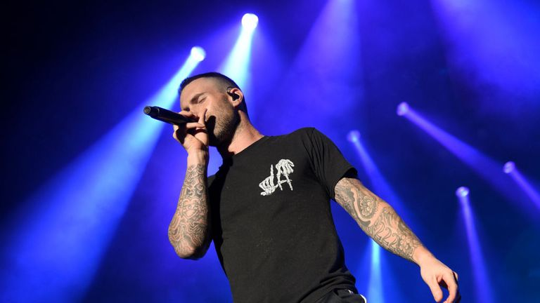 SAN ANTONIO, TX - APRIL 01: Adam Levine of Maroon 5 performs during the Capital One JamFest onstage at the NCAA March Madness Music Festival at Hemisfair on April 1, 2018 in San Antonio, Texas. (Photo by Michael Loccisano/Getty Images for Turner)