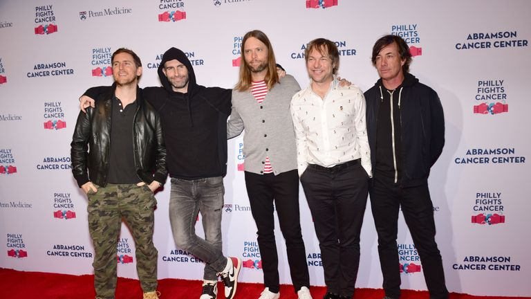 Jesse Carmichael, Adam Levine, James Valentine, Mickey Madden and Matt Flynn of Maroon 5 walk the red carpet during the Philly Fights Cancer: Round 4 Event