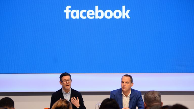 Martin Lewis held a joint news conference with Facebook executive Steve Hatch (L)