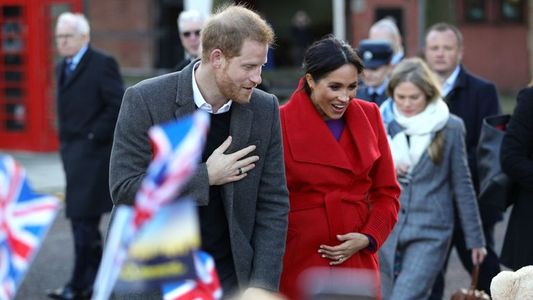 The Duke and Duchess of Sussex on a walkabout as they visit a new sculpture in Hamilton Square to mark the 100th anniversary of war poet Wilfred Owen...s death,  during a visit to Birkenhead. PRESS ASSOCIATION Photo. Picture date: Monday January 14, 2019. See PA story ROYAL Sussex. Photo credit should read: Aaron Chown/PA Wire
