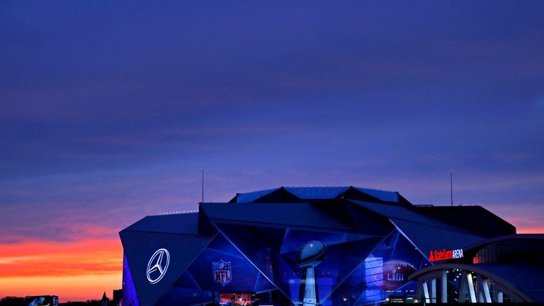 An exterior view of Mercedes-Benz Stadium is seen on January 27, 2019 in Atlanta, Georgia