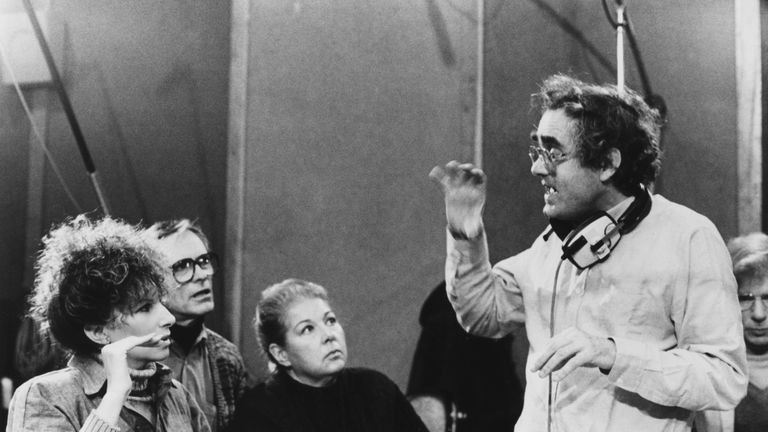 Michel Legrand working with Barbara Streisand on Yentl in 1983