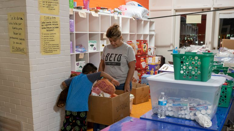 A boy chooses a toy at a migrants shelter in El Paso, Texas. Pic: File