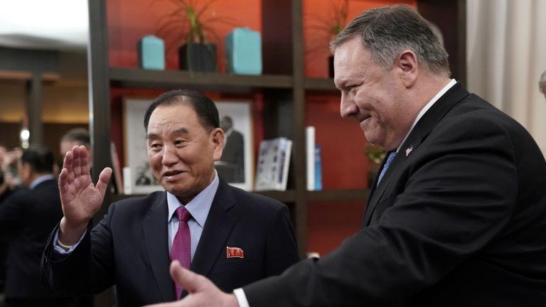 US Secretary of State Mike Pompeo met Kim Yong Chol in Washington on Friday