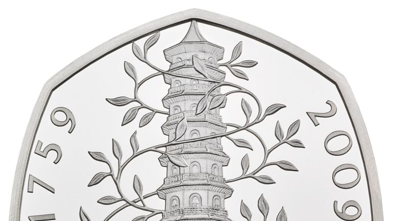 Undated handout photo issued by the Royal Mint of the commemorative Kew Gardens 50p, that features in special anniversary Proof set, which will be struck to mark the anniversary of the revolutionary seven-sided coin, first introduced in 1969.