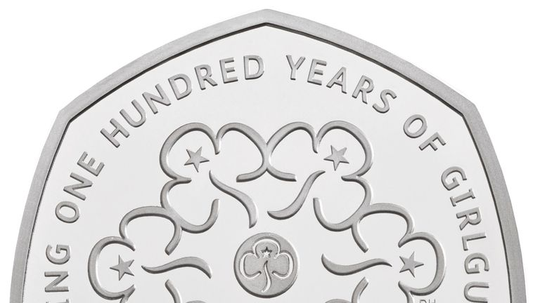 Undated handout photo issued by the Royal Mint of the commemorative 100 years of the Girl Guides 50p, that features in special anniversary Proof set, which will be struck to mark the anniversary of the revolutionary seven-sided coin, first introduced in 1969