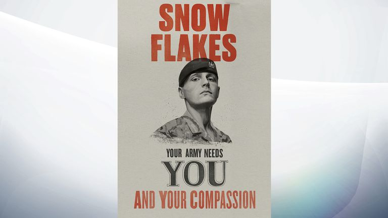 The soldier reportedly has objected to his image being used alongside the word 'snowflakes'. Pic: MoD