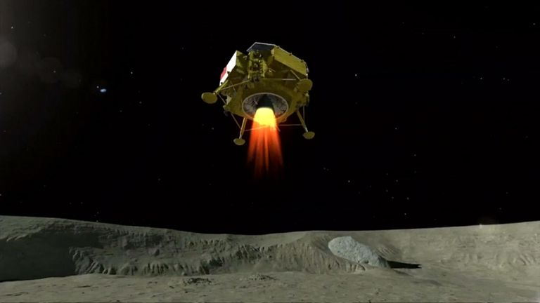 Graphic representation of the lunar explorer Chang'e 4 landing