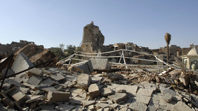 Much of Mosul, including the historic al Nuri mosque, has been left in ruins