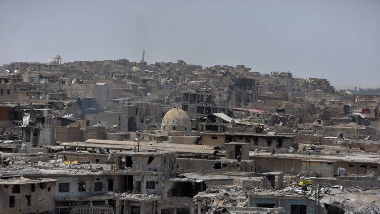 A look across the devastated old city of Mosul