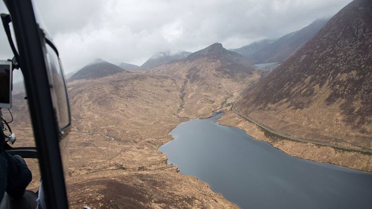 Handout photo taken from the Twitter page of @PSNIAirSupport of a support aircraft in the Mourne Mountains