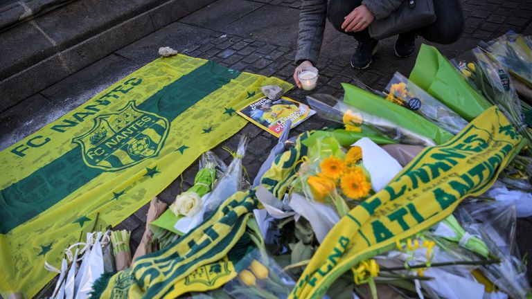 FC Nantes supporters have been leaving flowers outside the club