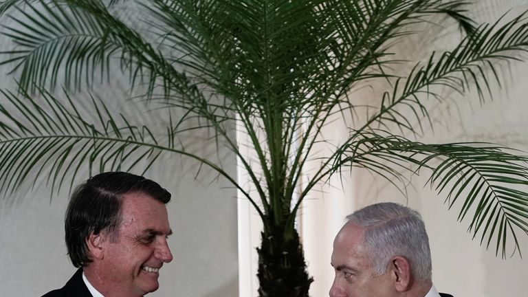 Mr Bolsonaro hosted Israeli PM Benjamin Netanyahu at the end of December