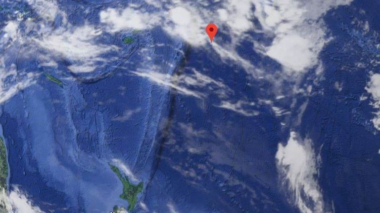 The red marker indicates the location of Niue compared which sits 1,500 miles from New Zealand