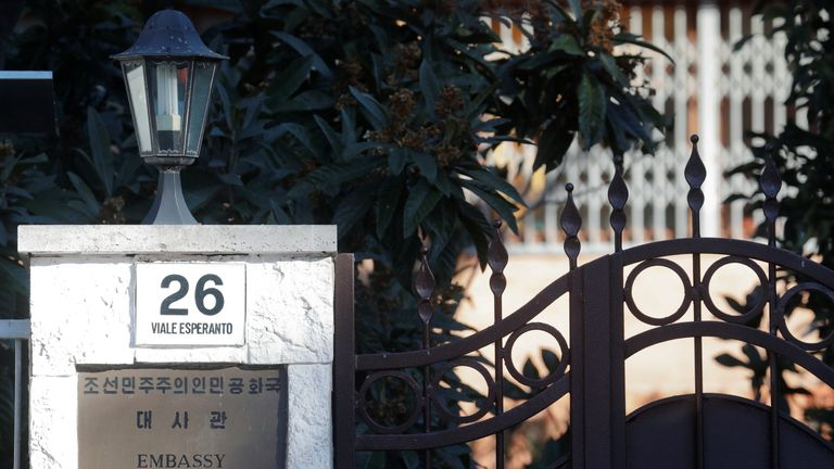 An entrance of the North Korean embassy in Rome