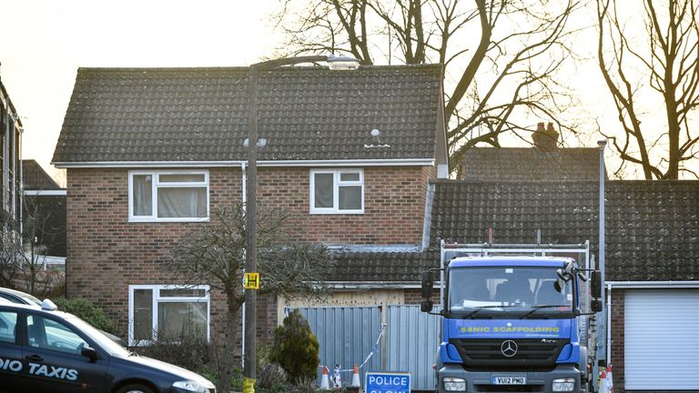 A lorry carrying scaffolding to be constructed outside Mr Skripal's home