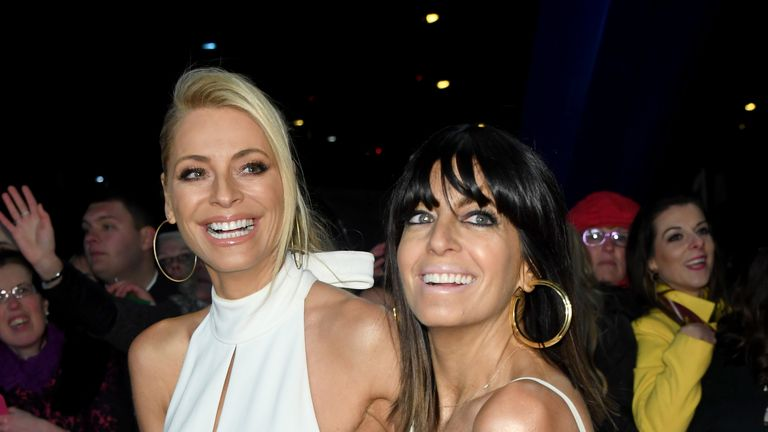 Tess Daly and Claudia Winkleman on the red carpet