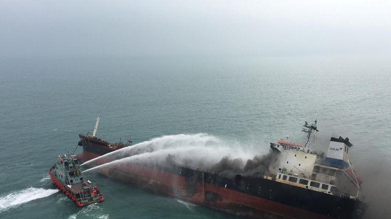 An oil tanker on fire near Lamma island, Hong Kong